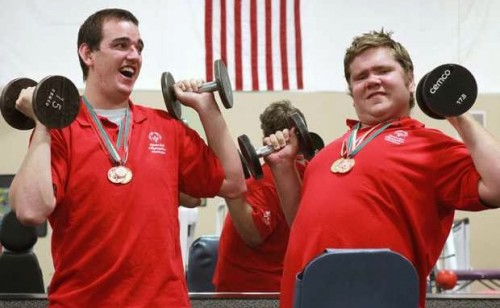 2 special olympians Weight lifting